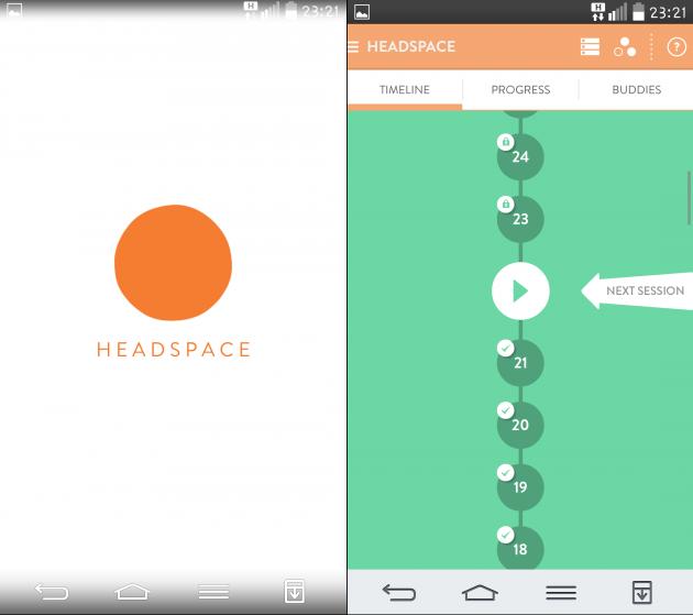 Запуск приложеия Headspace
